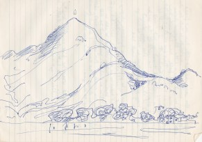 A sketch ... when staying there itself. The perfectly proportioned, primordial Mountain of fire.