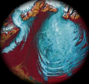 malaspino glacier alaska, satellite infrared photo