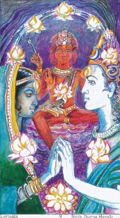 The wedding of parvati and siva, presided by brahma
