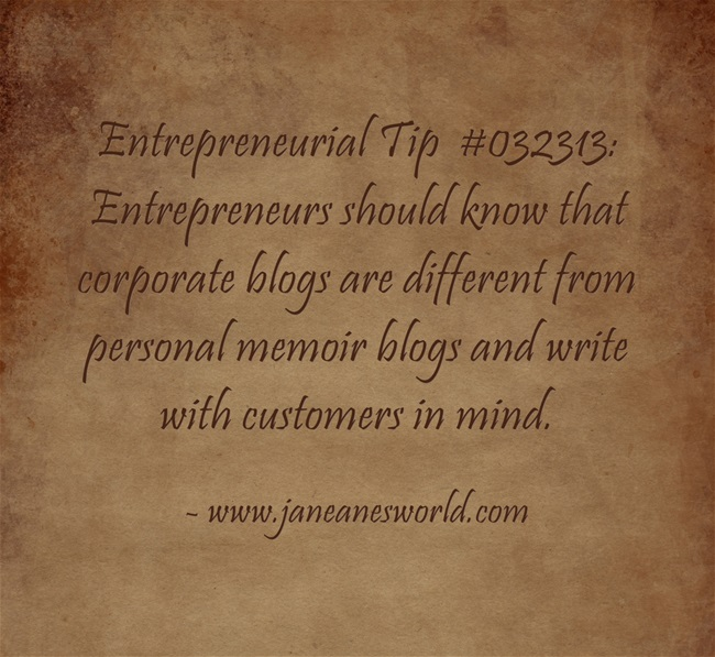 www.janeanesworld.com entrepreneur blogs