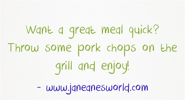 grilled pork a quick meal www.janeanesworld.com