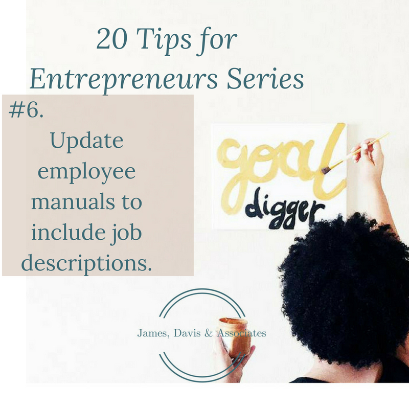 JDA Tip #6 Update employee manuals to include job descriptions.