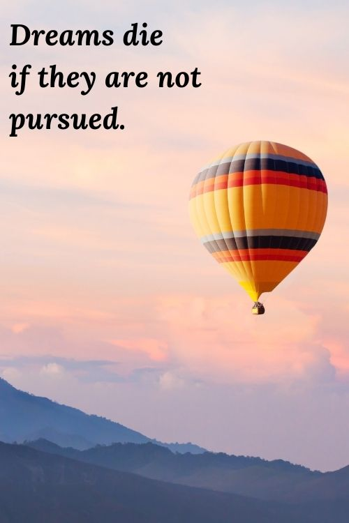 "picture of hot air balloon in the clouds and the words ""Dreams die if they are not pursued."""
