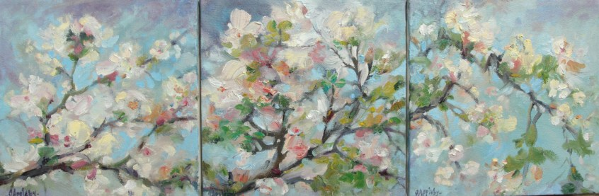 Blossoms, 8x24, Oil on Canvas