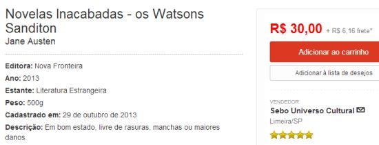 Novelas inacabadas:Os Watsons e Sanditon