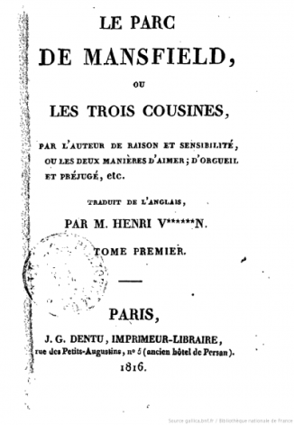 Mansfield Park - 1st French ed. title page