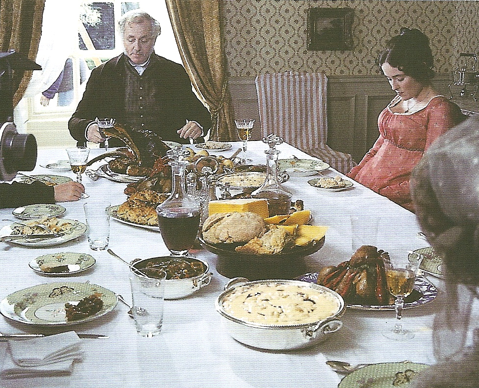 The Bennets dining at Longbourn.