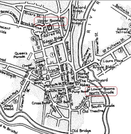 Detail of a map of Bath, c. 1800