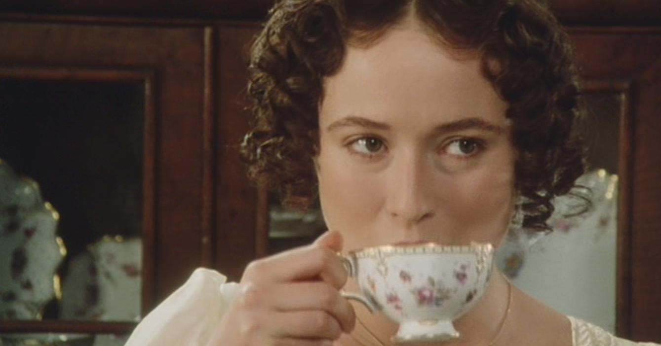 Lizzy drinks tea after talking to Wickham.