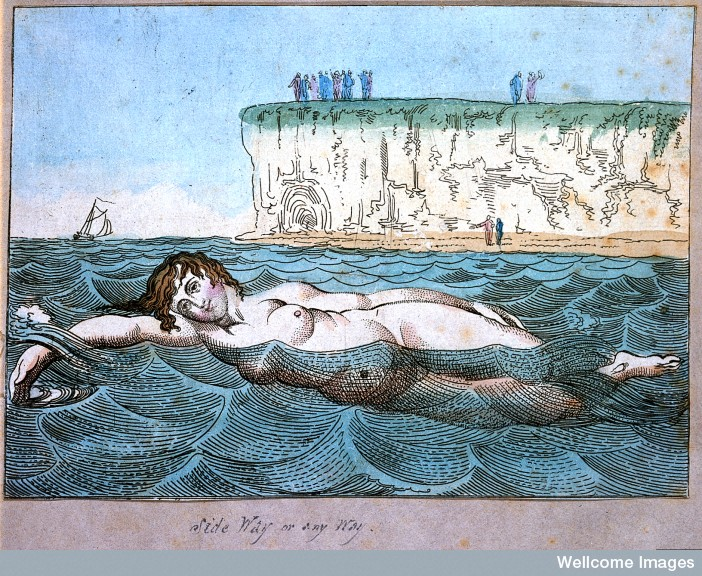Woman swimming in the sea; the need for privacy in such a situation is acute