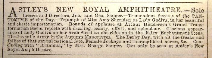 Astleys amphitheatre 1872 advert