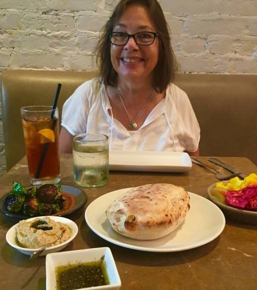 At Shaya for lunch. Yes, I am sweaty!