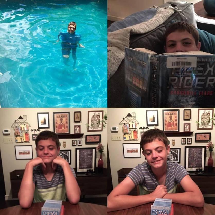 "Swimming, reading, ""Rack-o"""