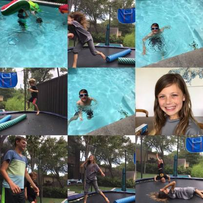 Swimming and trampolining with cousins