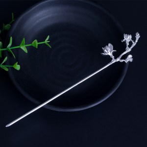 Beautiful magnolia flower hairpin fine s925 sterling silver hair stick