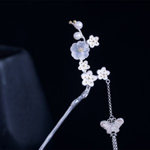 Crystal pearl flower hairpin s925 sterling silver plum blossoms hair stick