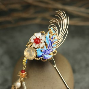 Cloisonne Phoenix tassel hairpin retro fine handmade gild copper hair stick