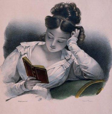 Vintage lady reading