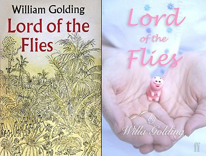 """From Huffington Post Books, the UK cover for William Golding's Lord of the Flies, left, and a reinterpretation by """"BGM"""""""