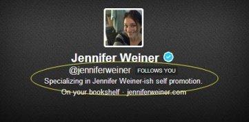 Jennifer Weiner Twiiter bio Jennifer Weiner-ish self-promotion