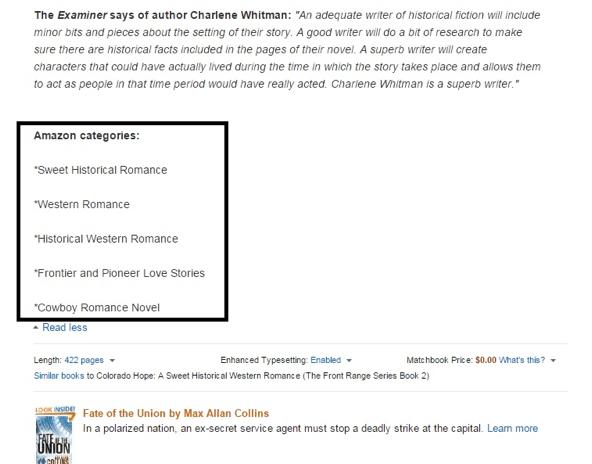 A screenshot showing a list of Amazon categories in a book description