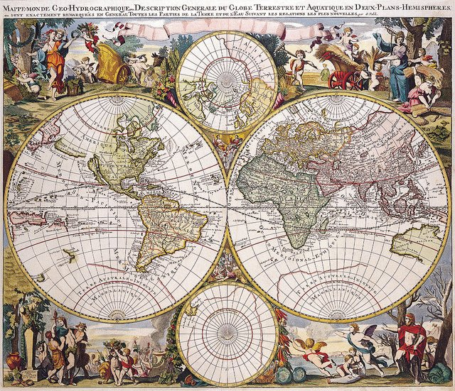 An antique world map.