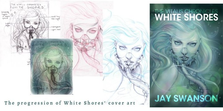 Art progression for White Shores cover art.