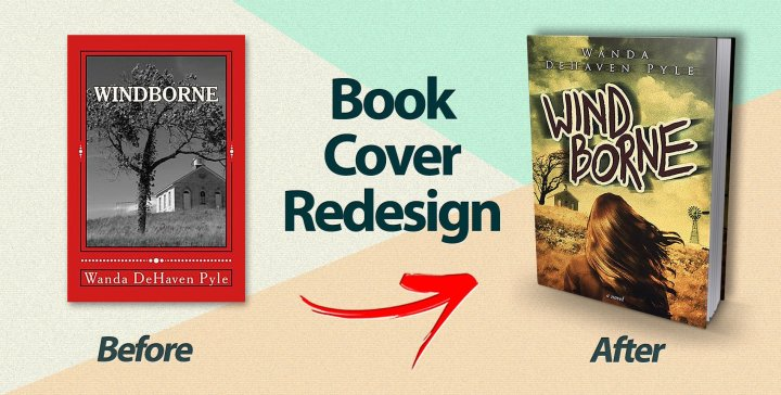 The cover of Wind Borne before and after redesign