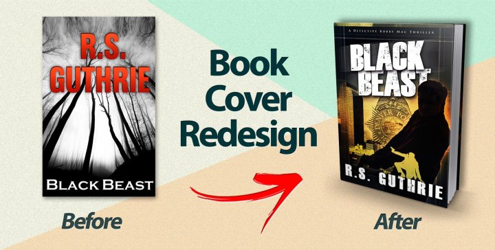 The cover of Black Beast before and after redesign