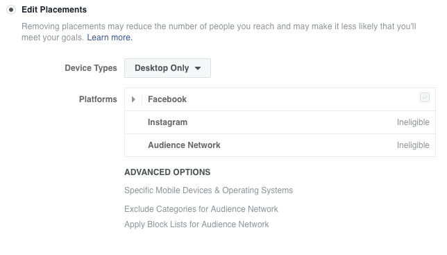 Facebook Edit Placements selection