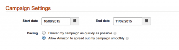 Campaign settings Amazon