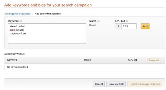 add keywords bids