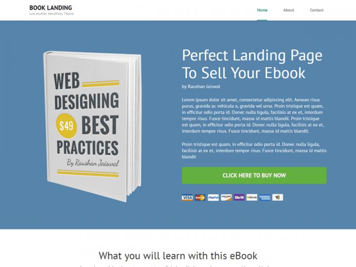 book landing page theme