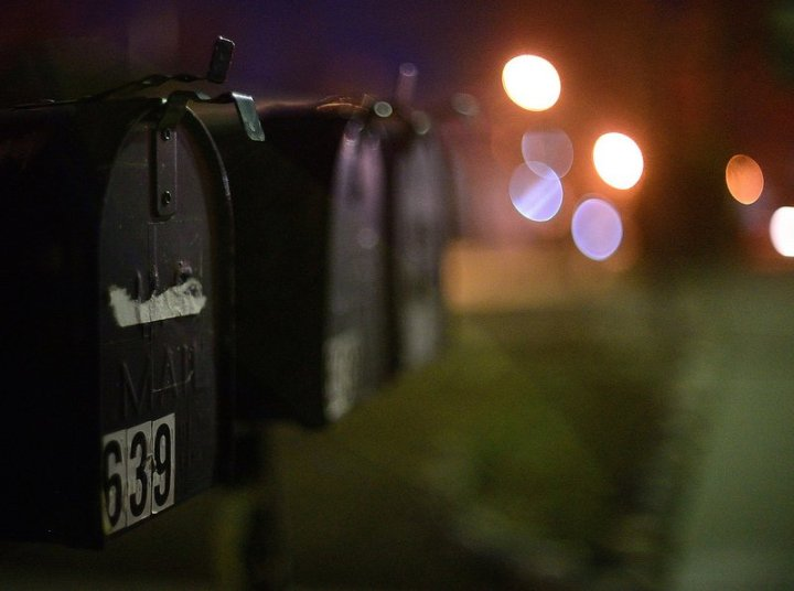 mailboxes at night