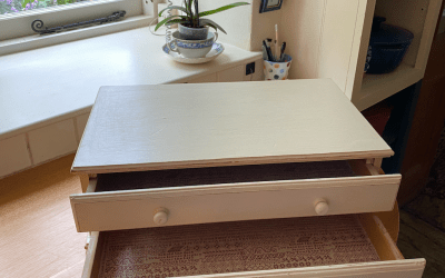 Distressed thread drawers almost done…