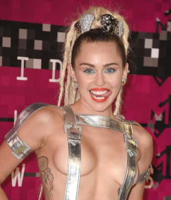 LOS ANGELES, CA - AUGUST 30: Singer Miley Cyrus attends the 2015 MTV Video Music Awards at Microsoft Theater on August 30, 2015 in Los Angeles, California. (Photo by Steve Granitz/WireImage)