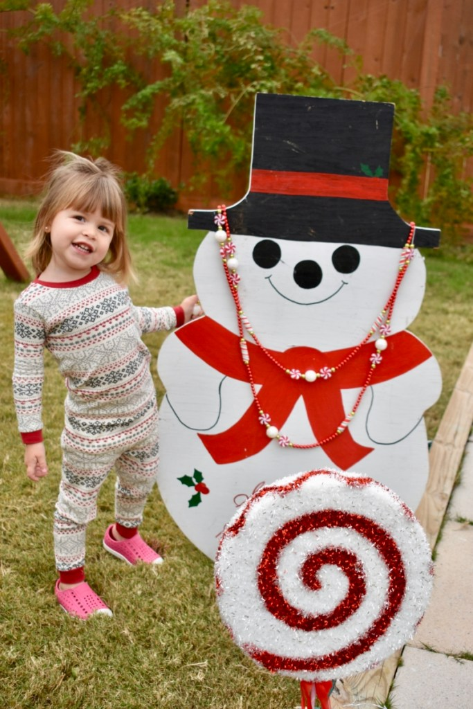 Girl and snowman decoration