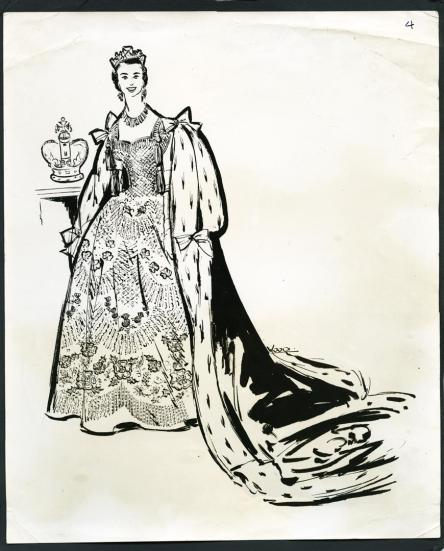Queens Coronation Dress sketch by my mother