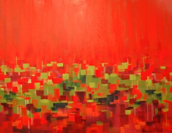Gradients in Red, Green + Magenta, diptych, acrylic, 60 x 40 inches, SOLD