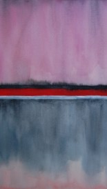 Horizons in grey, red, pink, + silver, #3, 22 x 29 inches, watercolor + gouache, SOLD