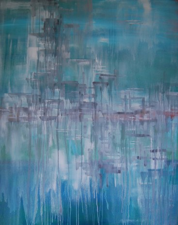 Ethereal Grey-Blue, acrylic, 48 x 60 inches, SOLD