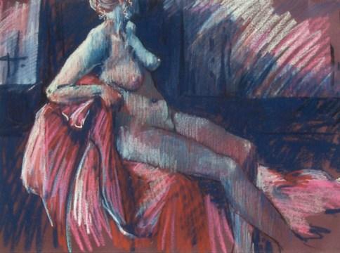 Figure on red blanket