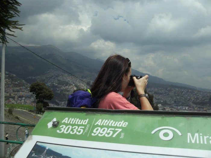 Lookout in Quito, Ecuador, tour group challenges, storm clouds