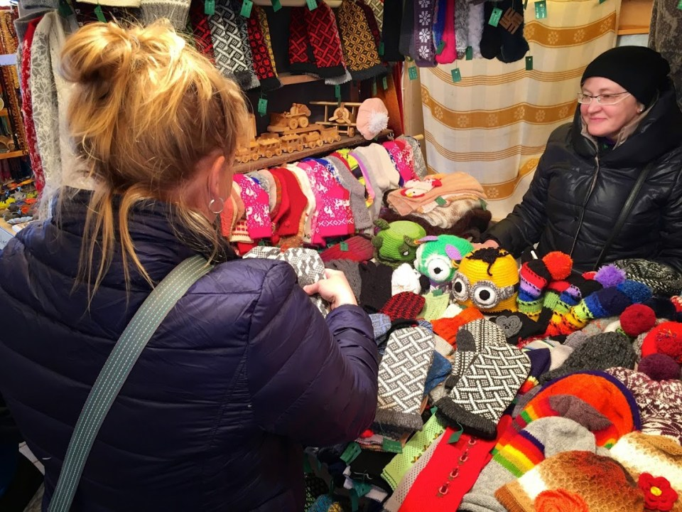 Shopping in Riga, Latvia, handmade knitted gloves