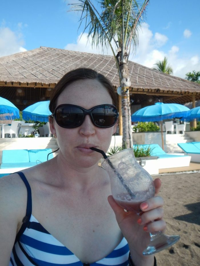 Drinking frozen beverages in Bali