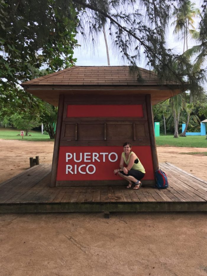 Posing with Puerto Rico Sign