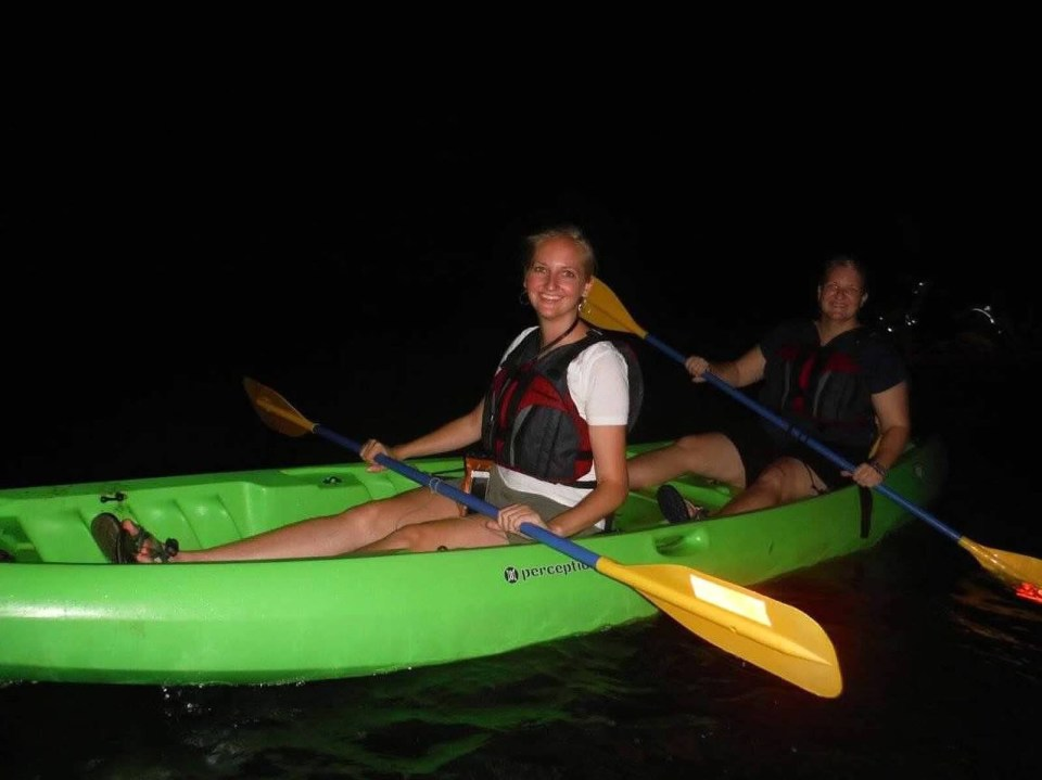 night kayaking Puerto Rico tourists travel vacation