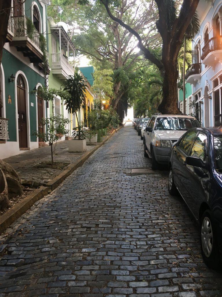 Cobblestone streets of Old San Juan, Puerto Rico.