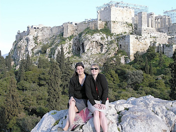 Friends Parthenon Athens Greece tips for choosing a travel companion women travelers vacation