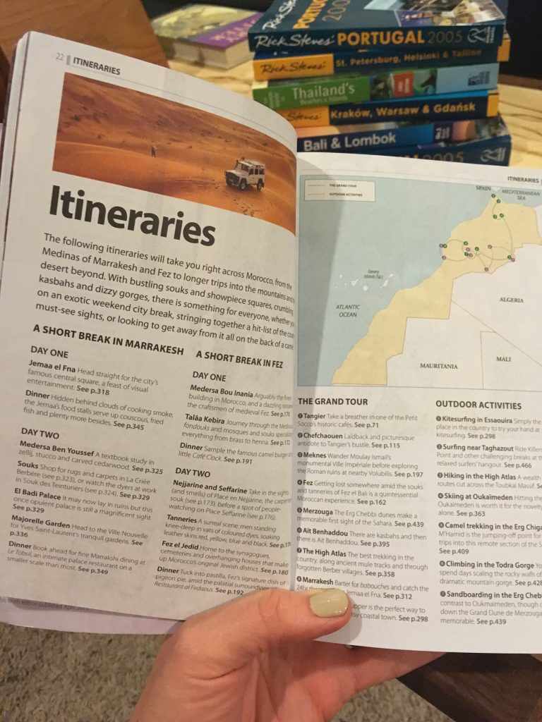 Itineraries Section of a Guidebook
